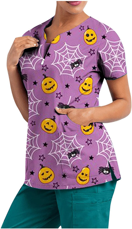 MASZONE Scrub_Top for Womens Halloween Pumpkin Ghost Work Uniform Short Sleeve T-Shirts V-Neck Nurses_Tunic Workwear Top