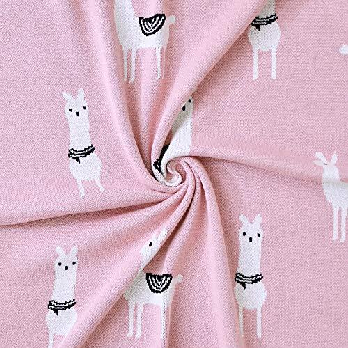 Sevira Kids - Couverture bébé en coton bio - Plaid enfant Tricot - douce - label GOTS - Cadeau naissance - Lama