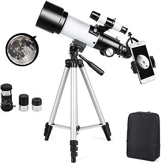 Telescopio Astronómico Zoom HD 400/70 mm de Alta Ampliación Alcance de Viaje con Trípode, Portátil Equipado con Mochila y ...