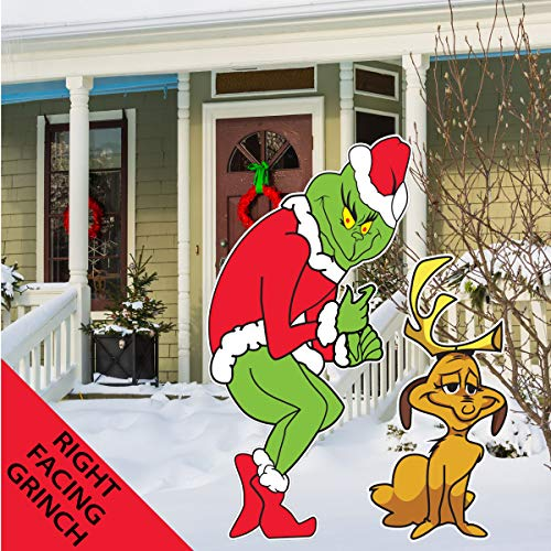 The Grinch with Max Dog Stealing Christmas Lights Yard Art Lawn Decoration R