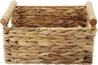 HDKJ Storage Basket Made by Water Hyacinth with Wood Handles, Arts and Crafts. (Large)