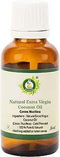 R V Essential Aceite de coco virgen extra natural 10ml (0.338oz)- Cocos Nucifera (100% puro y natural Prensado en frío) Natural Extra Virgin Coconut Oil