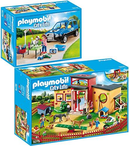 PLAYMOBIL City Life 2er Set 9275 9278 Tierhotel Pfötchen + Mobiler Hundesalon