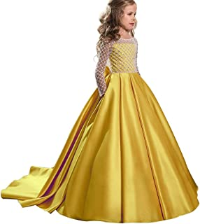 fb8f5442e Christmas Flower Girl Dress Floor Length Button Draped Tulle Ball Gowns for  Kids