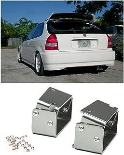 EOS Rear Wing Spoiler Riser Extender Lift Tilt Kit Silver - For Honda Civic 3 Door Hatchback EK9 96-00 1996 1997 1998 1999 2000