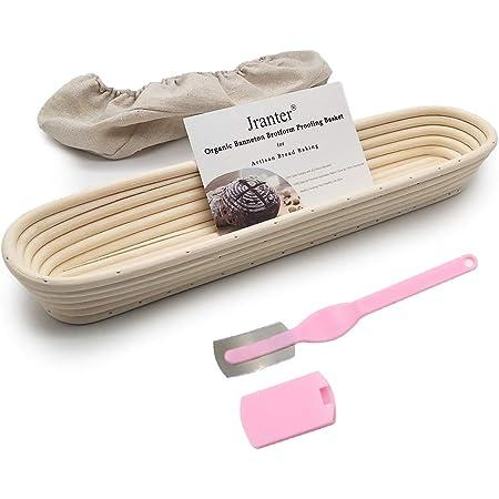Juego de canasta para pruebas Banneton - Brotform para la prueba de pan Baguette de 15 pulgadas con forro de tela de lino y hoja de masa