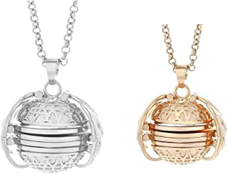Sunnywill 2PC Expanding Photo Locket Necklace Pendant Angel Wings Gift Jewelry Decoration Layered Simple Delicate Handmade