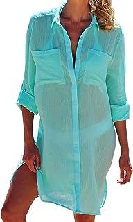 Chiffon - Funda para traje de baño de mujer, cuello en V, sexy, camiseta, bikini de manga larga, talla única, para playa, ...