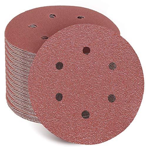 Paquete de 100 discos de lija con gancho y bucle, 6 agujeros, 80 granos, papel de lija para lijadoras orbitales aleatorias, papel de lija de órbita, papel de lija redondo de gancho y bucle.