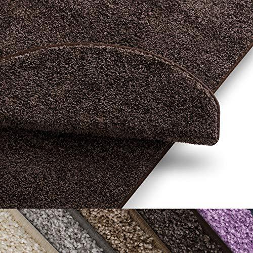 Stufenmatten uni nougat | Qualitätsprodukt aus Deutschland | GUT Siegel | kombinierbar mit Läufer | 65x23,5 cm | halbrund | 15er Set