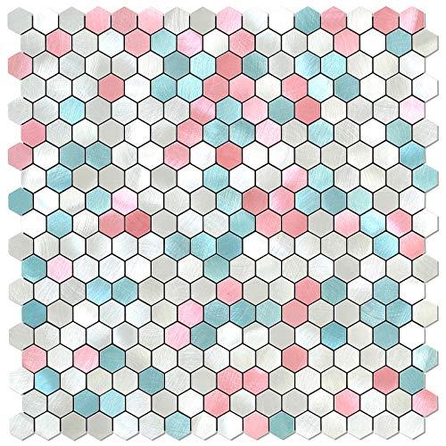 BeNice Hexágono Pegatinas De Azulejos De Metal Para Cocina, Autoadhesivas Mosaicos De Pared, Azulejos De BañO, Pelar Y Pegar, 26,5x26,5cm, 5piezas Rosa y Azul