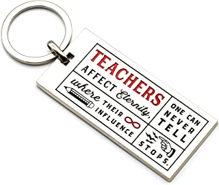 Teachers' Inspirational Quote Keychain - Teachers Affect Eternity, One Can Never Tell Where Their Influence Stops - Gift for Teacher for Birthday Christmas Teacher Appreciation (Silver Tone with Red)