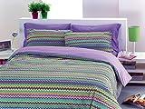 Funda nórdica (100% algodón, para Cama de 1Plaza y Media, Dibujo Baia Color Lila