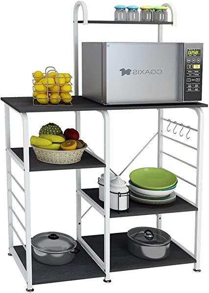 DlandHome Microwave Cart Stand 35 4 Inches Kitchen Utility Storage 3 Tierx4 Tier For Baker And Rack And Spice Rack Organizer Workstation Shelf 172 B Black 1 Pack