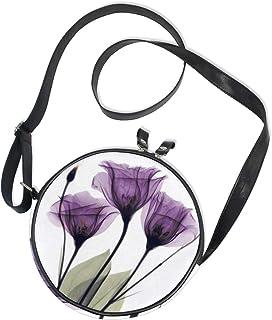 Emoya Runde Tasche, lila Blumen, Segeltuch, Kreuz, Tasche für Damen/Mädchen