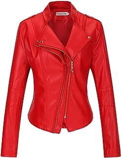 Women's Slim Faux Leather Motorcycle Biker Jacket Outerwear