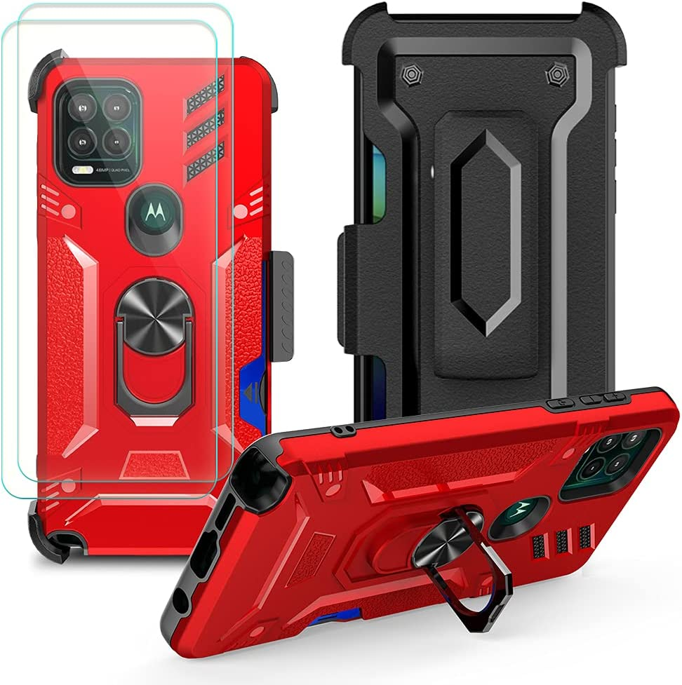 Futanwei Belt Clip Holster Case for Motorola Moto G Stylus 5G (2021) with [2 Pack] Tempered Glass Screen Protector - Bulit-in Ring Holder Stand/Kickstand (Work with Car Mount) & Card Holder, Red