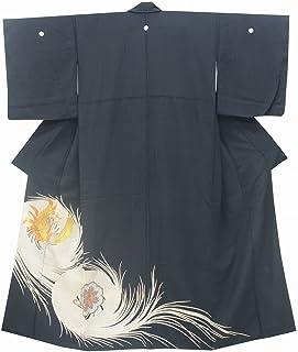 黒留袖 中古 リサイクル 正絹 五つ紋 比翼付き 黒 鳳凰文様 裄64.5cm 黒系 裄Mサイズ 身丈Sサイズ jj2858b