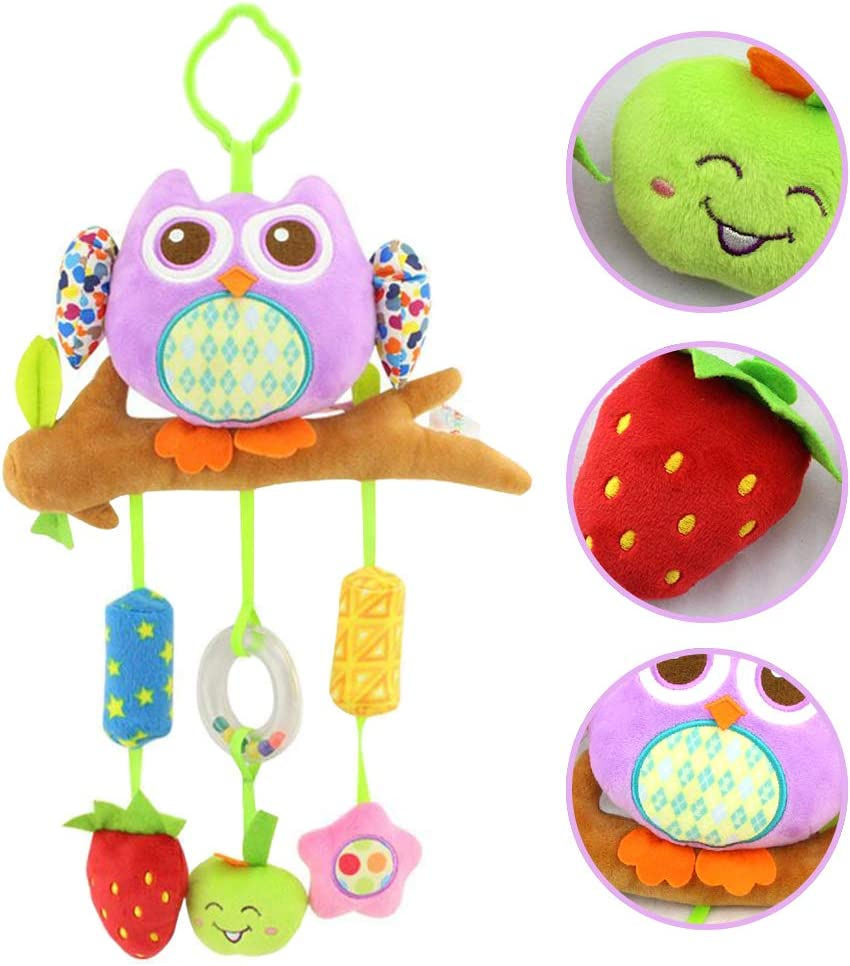 daisy's dream Owl Baby Rattle Stroller Toys for Infant Hanging Plush Toys with Wind Chime and Squeak for Crib Bed Car Seat 8.26'' x 16.9''