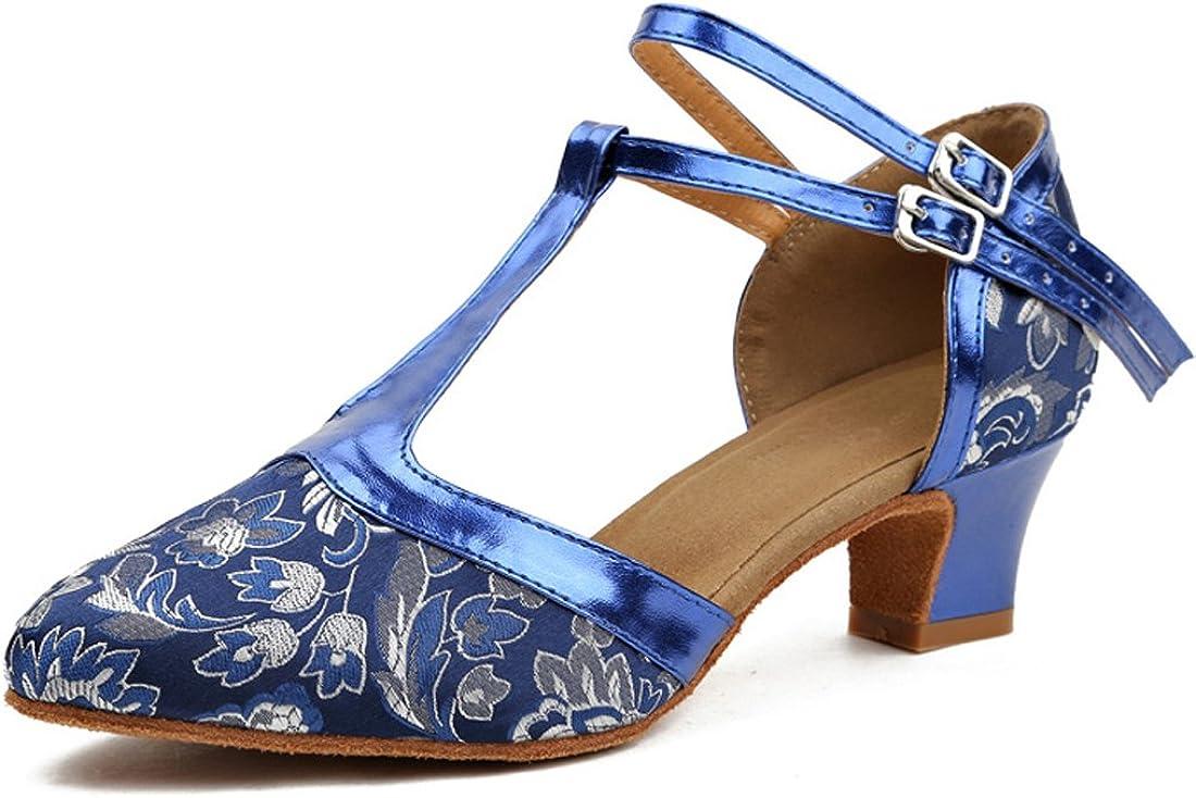 Honeystore T-Strap Women's Salsa Latin Bachata Performance Pattern Dance Shoes