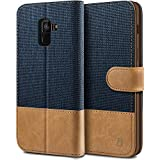 BEZ Hülle für Samsung A8 2018 Hülle, Handyhülle Kompatibel für Samsung Galaxy A8 2018, Handytasche Schutzhülle Tasche Case [Stoff & PU Leder] mit Kreditkartenhaltern, Blaue Marine
