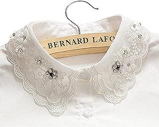 Vivian Women Fake Half Shirt Collar with Diamond Bead Detachable Blouse Collar Tie (Beige)