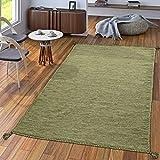 Alfombra Diseño Kilim Tejida A Mano 100% Algodón Moderna Verde Jaspeado, Größe:80x150 cm
