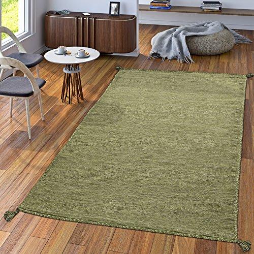 TT Home Handwebteppich Wohnzimmer Natur Webteppich Kelim Modern Baumwolle In Grün, Größe:80x150 cm