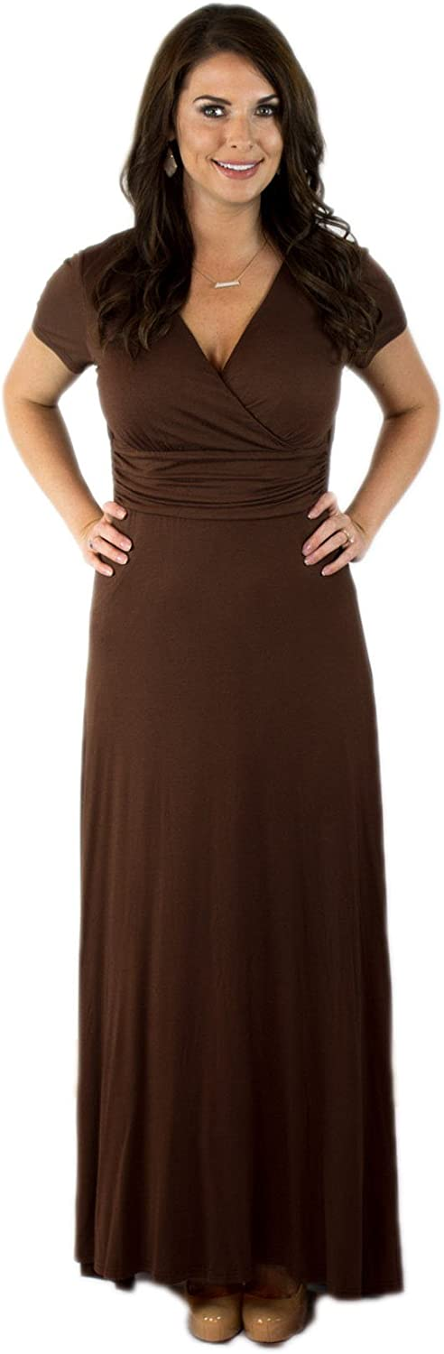 Charm Your Prince Women's Elegant Cap Sleeve Chest Crossover Cocktail Long Maxi Dress
