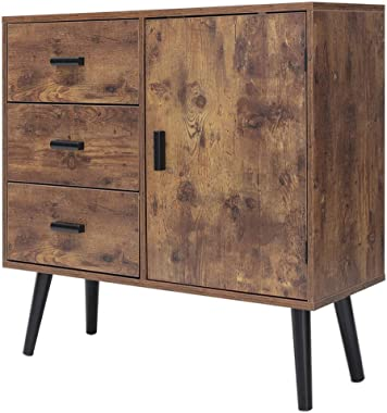 """IWELL Mid-Century Storage Cabinet with 3 Large Drawers & 1 Side Cabinet with Adjustable Shelf, 31.5"""" L Bathroom Floor"""