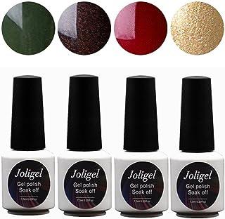 Joligel 4pcs Esmaltes uñas de gel esmalte de uñas Supremium Permanentes Semi Vino verde esmeralda  rojo oscuro  oro