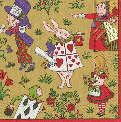 Caspari Alice in a Winter Wonderland da Cocktail, Motivo, Multicolore, Confezione da 20