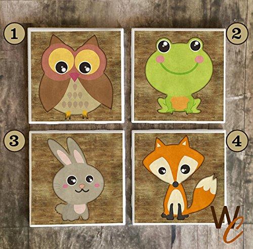 Posavasos Woodland para bebidas, diseño de animales hecho a mano, azulejos de cerámica, búho, conejo de rana, zorro, decoración de cabina, hecho a pedido