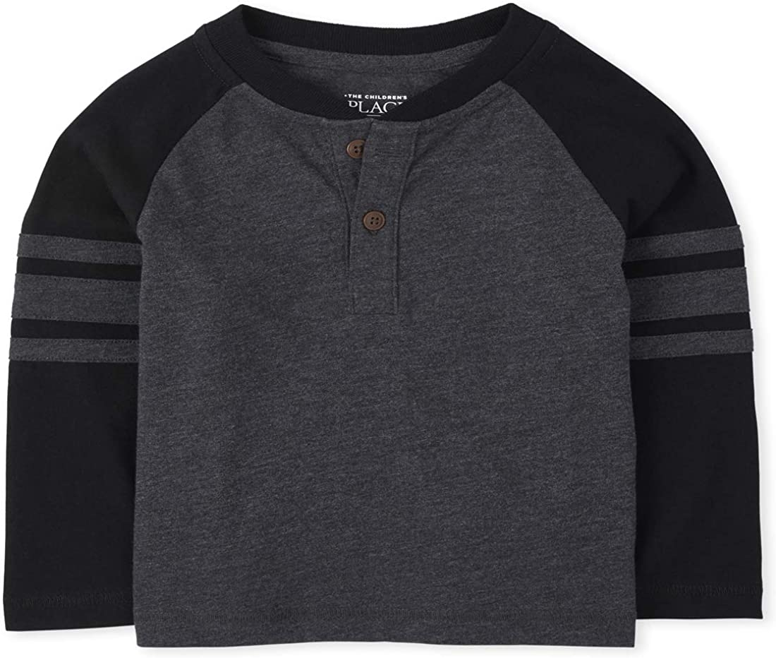 The Children's Place Boys' Toddler Striped Arm Henley Top