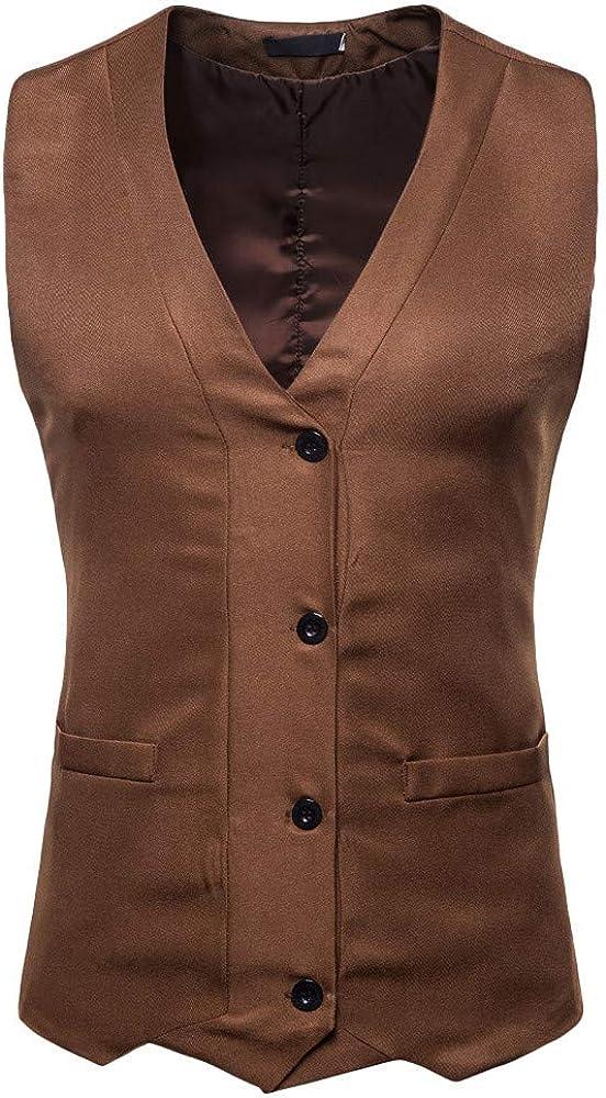 MODOQO Men's V-Neck Business Suit Vest Single Breasted Slim Fit Waistcoat