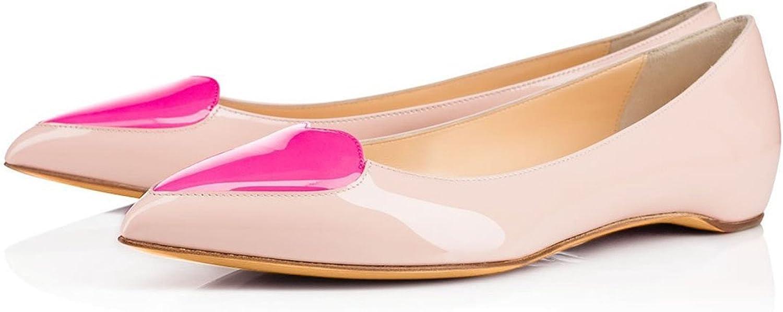 Lätta styltiga kvinnor med spetsig tå, vacker form av hjärta hjärta hjärta handgjord enkel stil, platta skor, Unik stil.  hög rabatt
