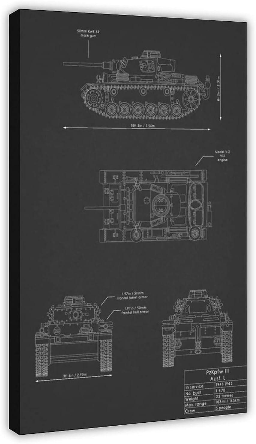 Blueprints for Weapons of War III PzKpfw Canvas Blackboard 5 ☆ very popular Tanks Oklahoma City Mall