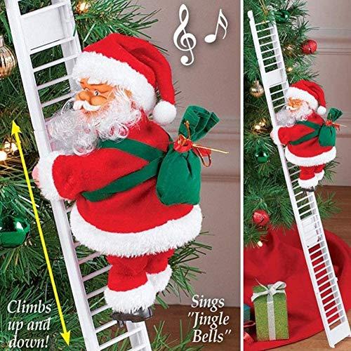 Animato Musicale Babbo Natale Elettrico Scala da Arrampicata su Albero di Natale Ornamento Appeso Decorazioni Natalizie Giocattolo per la Famiglia