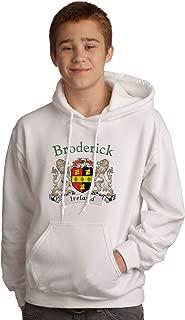 Broderick Irish Coat of Arms Hooded Sweatshirt in White