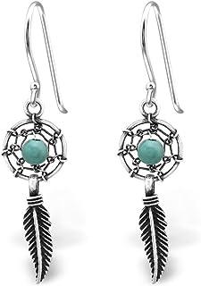 925 Sterling Silver Hypoallergenic Dream Catcher w/ Dangling Feather w/ Turquoise Fishhook Earrings 30824