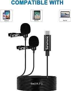 Saramonic LavMicro U3C Micrófono digital omnidireccional de solapa con clip de doble cabezal con conector USB tipo C Compatible con iPad Pro, Mac PC, Samsun, otros teléfonos inteligentes tipo USB-C