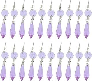 NUOBESTY Lustre en cristal transparent pour diffuseur de glace Prismen Lampe Kandelaber Pièces de rechange avec perles d'a...