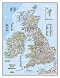 National Geographic: Britain and Ireland Classic Wall Map - Laminated (23.5 x 30.25 inches) (National Geographic Reference Map)