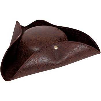 Adult/'s Blue Tricorn Felt Hat Captain Tricorne Chapeau De Pirate Jack Sparrow