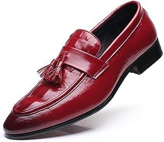 DADIJIER Zapatos Oxford de Vestir for Hombre Zapatos sin Cordones de Negocios Casual Cocodrilo en Relieve Borla Piel sinté...