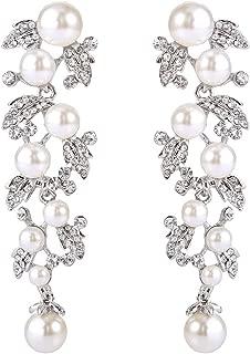 Women's Austrian Crystal Simulated Pearl Bridal Leaf Dangle Earrings