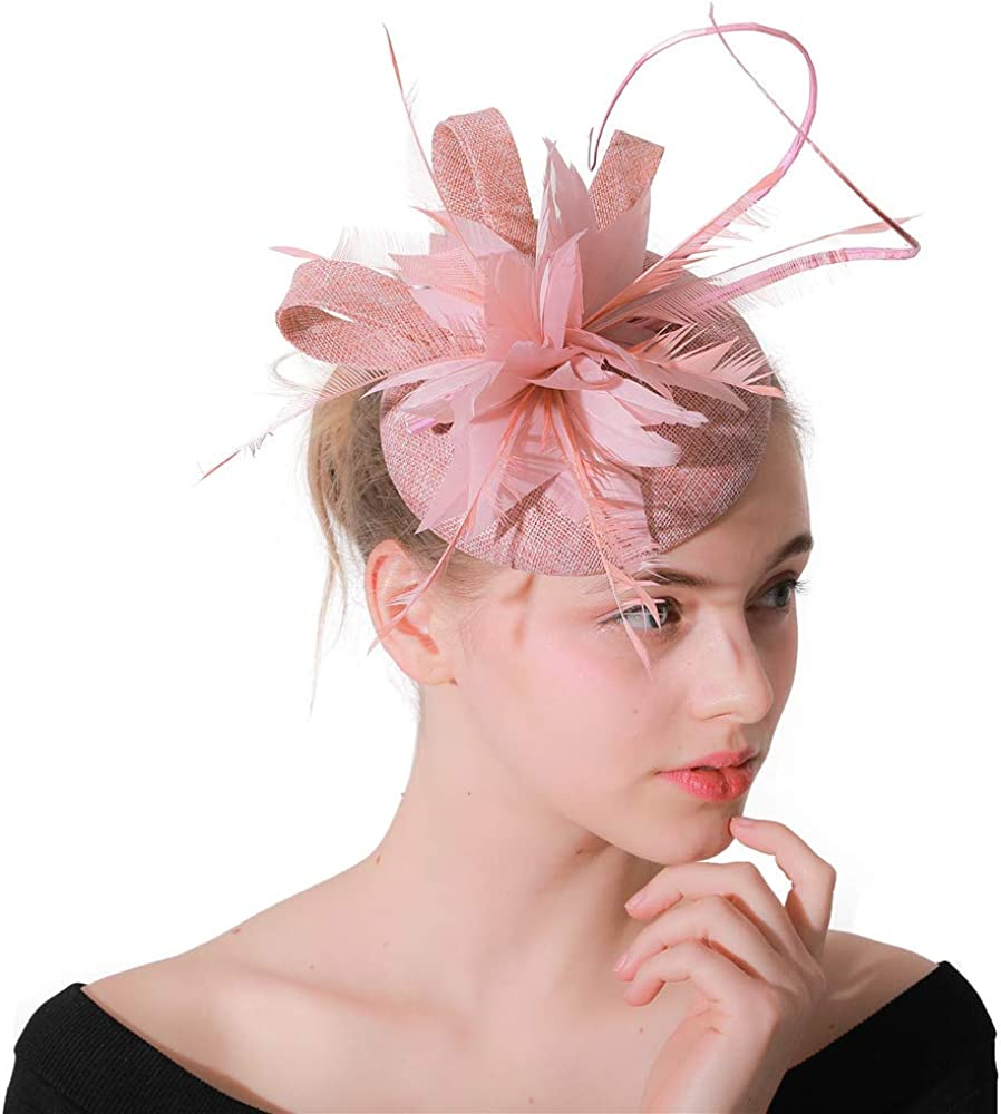 YONQUIL Peach Ladies Wedding Fascinator Hats Feathers with Headbands Elegant Women XMF133