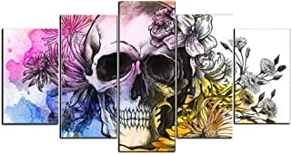 gold mi Halloween Home Decorations Scary Skull Abstract Artwork Wall Art for Living Room Bedroom Wall Decor Cartoon Poster Print Frame to Hang (Multicolor, 8x14inchx2+8x18inchx2+8x22inchx1)