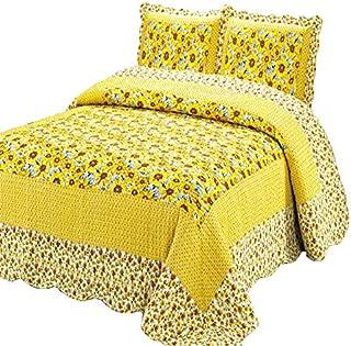 100% Cotton 3-Piece Polka Dot Sunflower Patchwork Bedspreads Quilt Sets Queen
