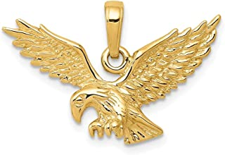 14k Yellow Gold Solid Eagle Landing Pendant Charm Necklace Bird Fine Jewelry For Women Gifts For Her